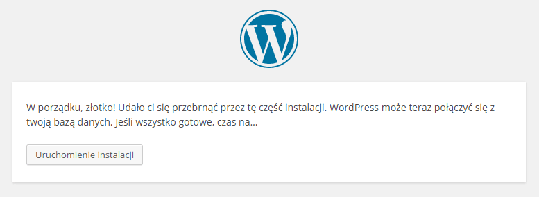 Finalizacja konfiguracji WordPressa.