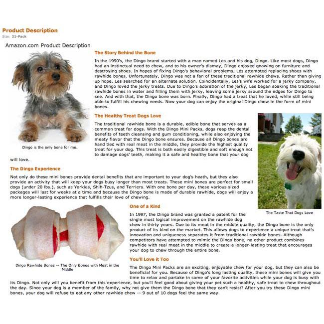 Dingo Rawhide Amazon A+ Page