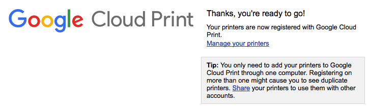 Google Cloud Print Confirmation Notice