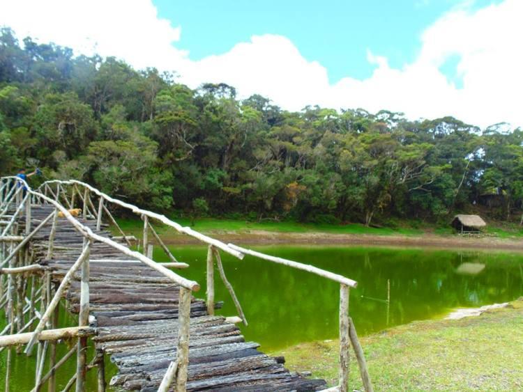 A temporary bridge constructed across Lake Tufub.