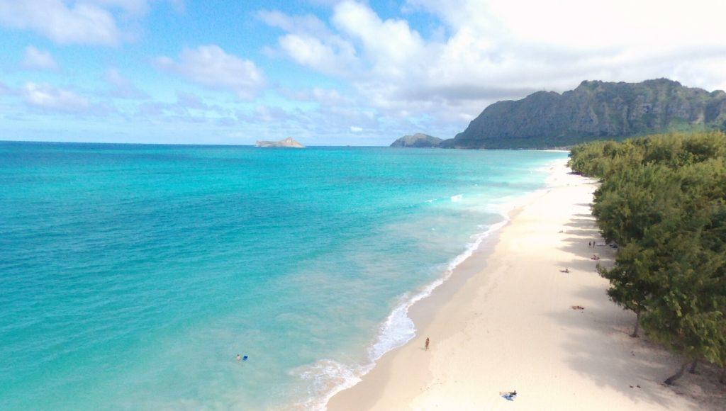 Endless White Sand Beach in Hawaii