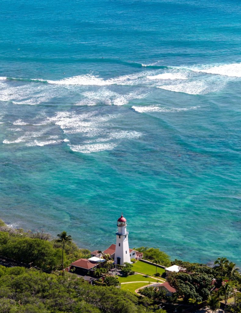 Include Diamond Head lighthouse in your Oahu vacation photos.