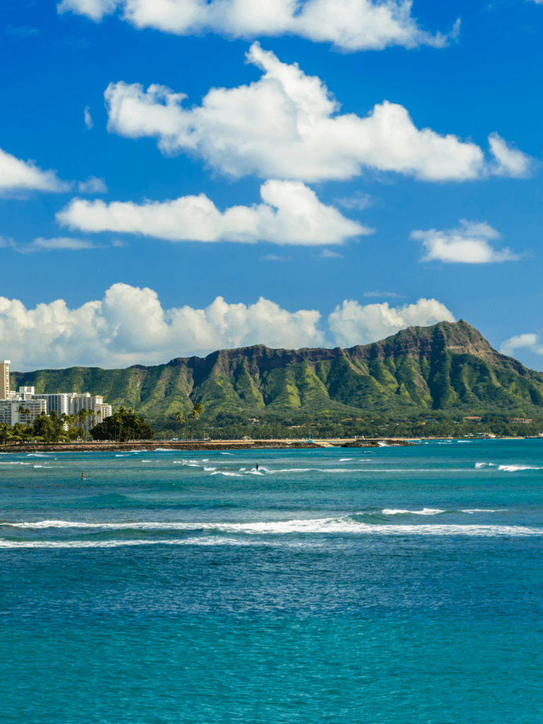 Diamond Head is visible from these beach hotels.