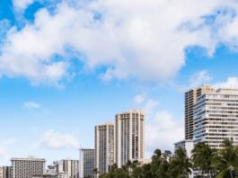 Waikiki beach hotels on the ocean