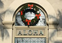 Aloha with Christmas Wreath