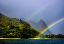 Rainfall in Kauai creates rainbows