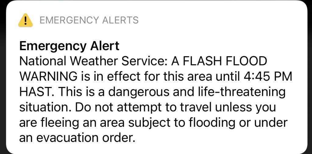 Flash Flood Warning Hawaii on Phone