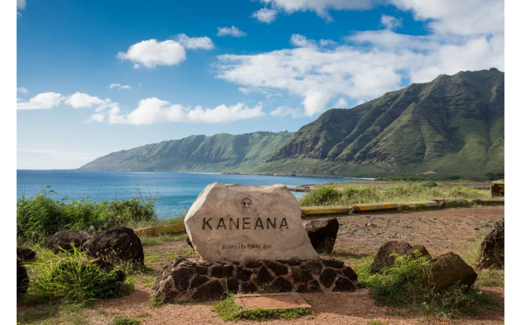This rock marks the location of Kaneana Cave on Oahu