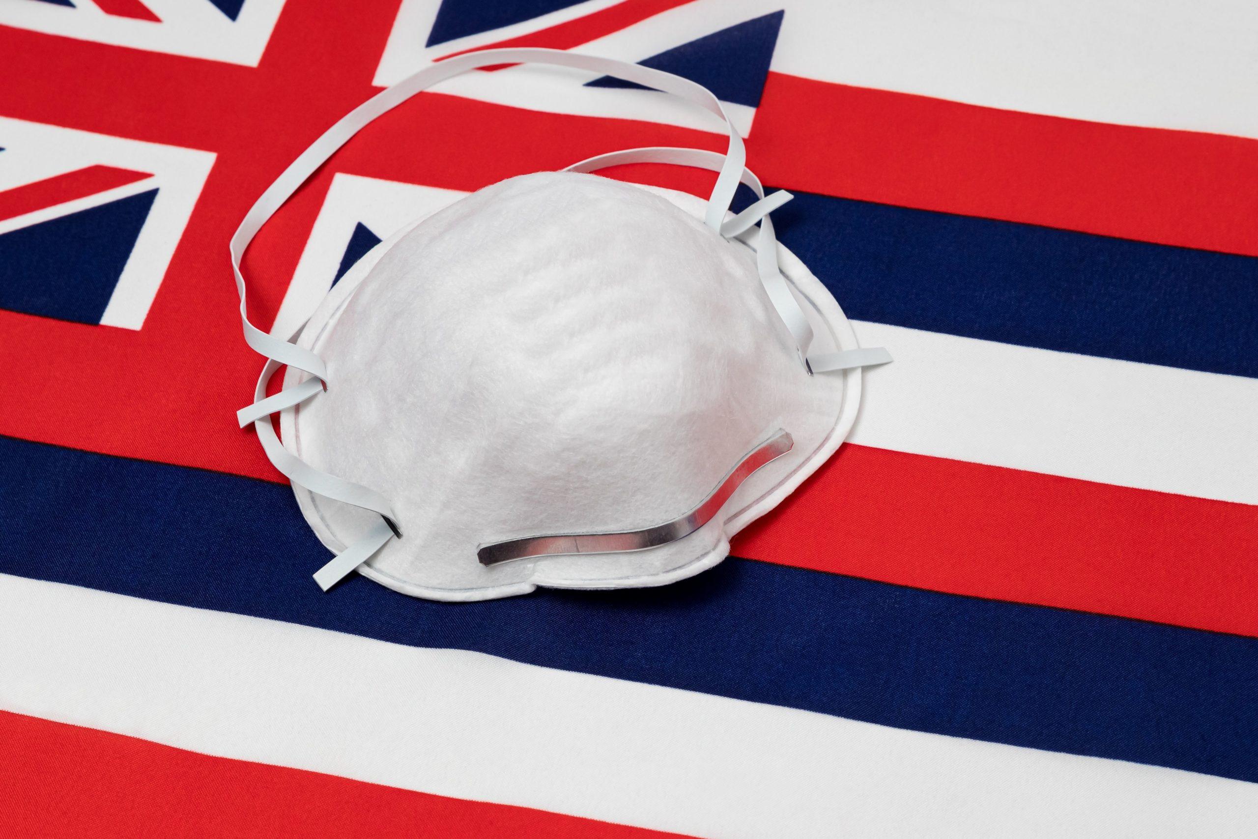Hawaiian flag and mask
