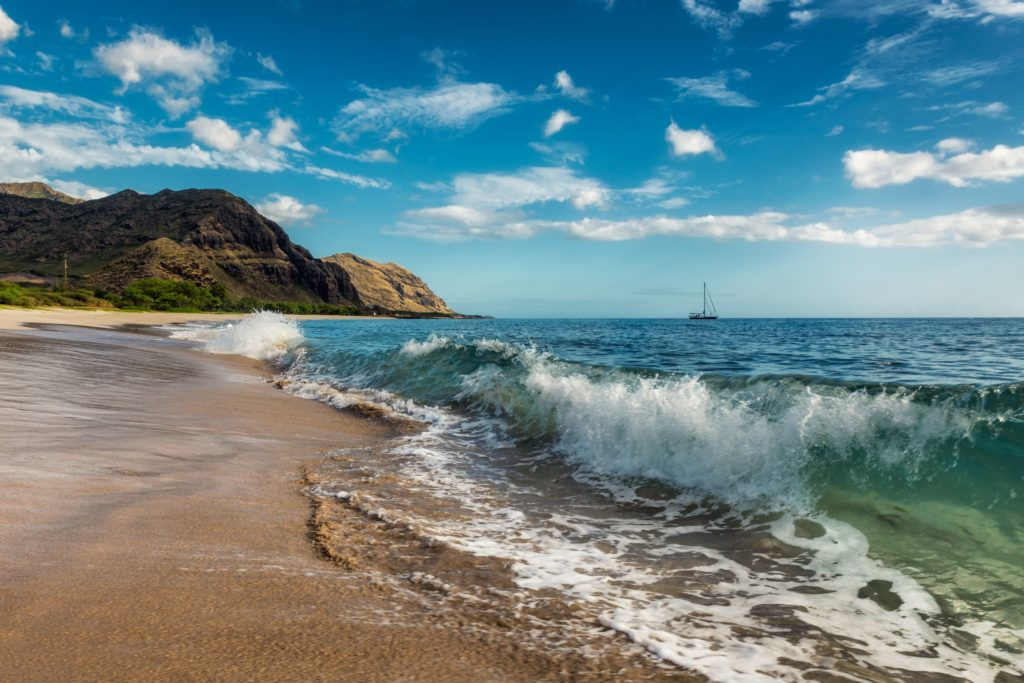 Shore break at Makua Beach, Oahu. Keeping a look out for danger is one of the ways to travel pono in Hawaii.