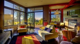 Interior Design Photography | Living Room with Great Morning Mt Rainier View