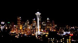 Seattle Night Time Skyline | Seattle Space Needle