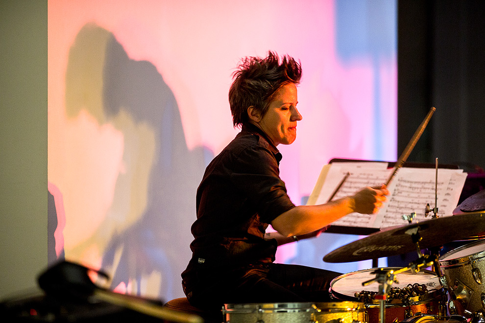 Jazz drummer Allison Miller performing at the Sattle Art Museum