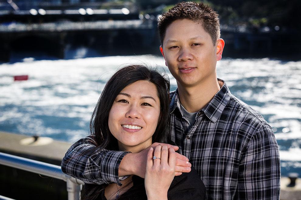 Engagement photos at the Ballard Locks by wedding photographer Daniel Sheehan