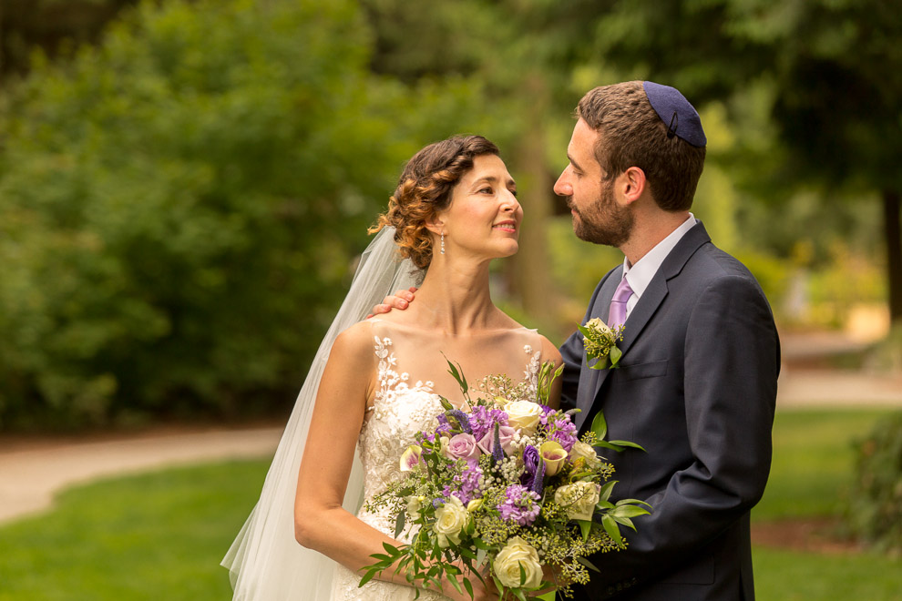 Beide and groom at a Jewish wedding ceremony in Bellevue WA