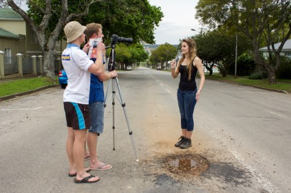 The next location is Cameroon where Bianca Du Plessis practises her journalistic skills and does a report next to Lake Chad about the decreasing water levels over the past few decades in this vital lake. Jared Coetzee films while Peter Martin prompts with her script. Photo: Roxanne Daniels