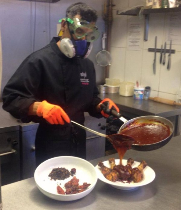 A gas mask is needed to prepare the world's spiciest drumstick sauce