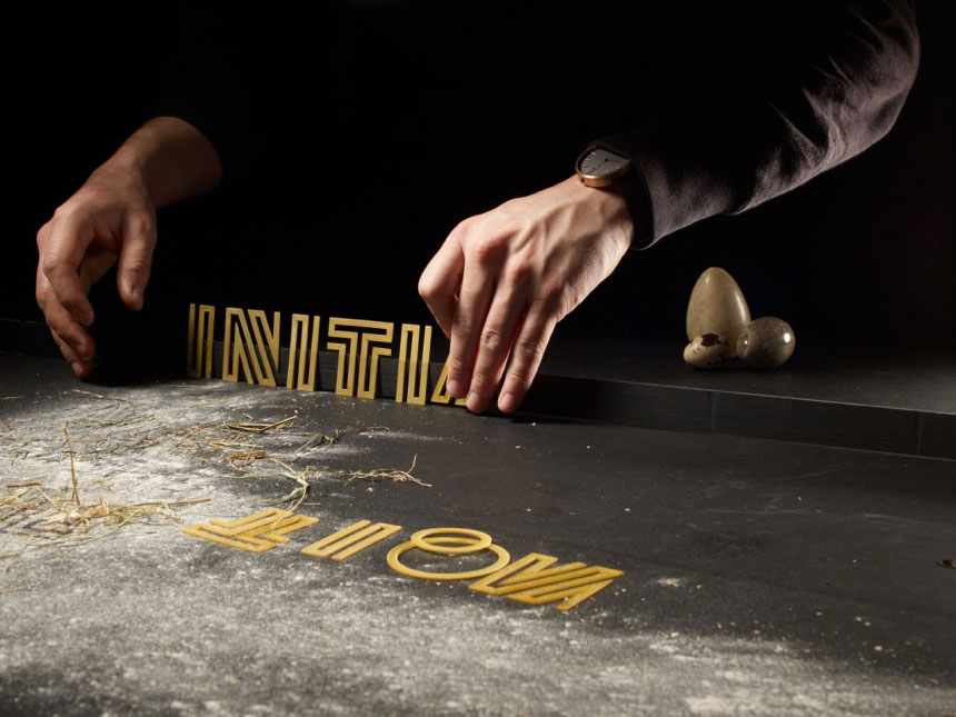 3D printed laser cut pasta typography