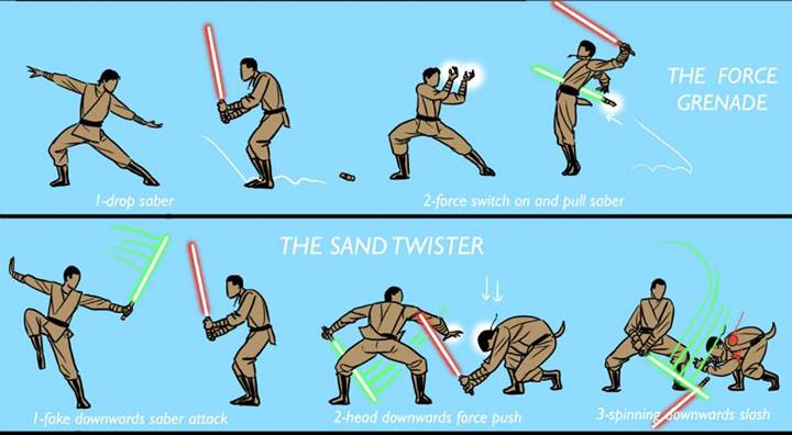 Alternate lightsaber techniques: The Force Grenade & Sand Twister