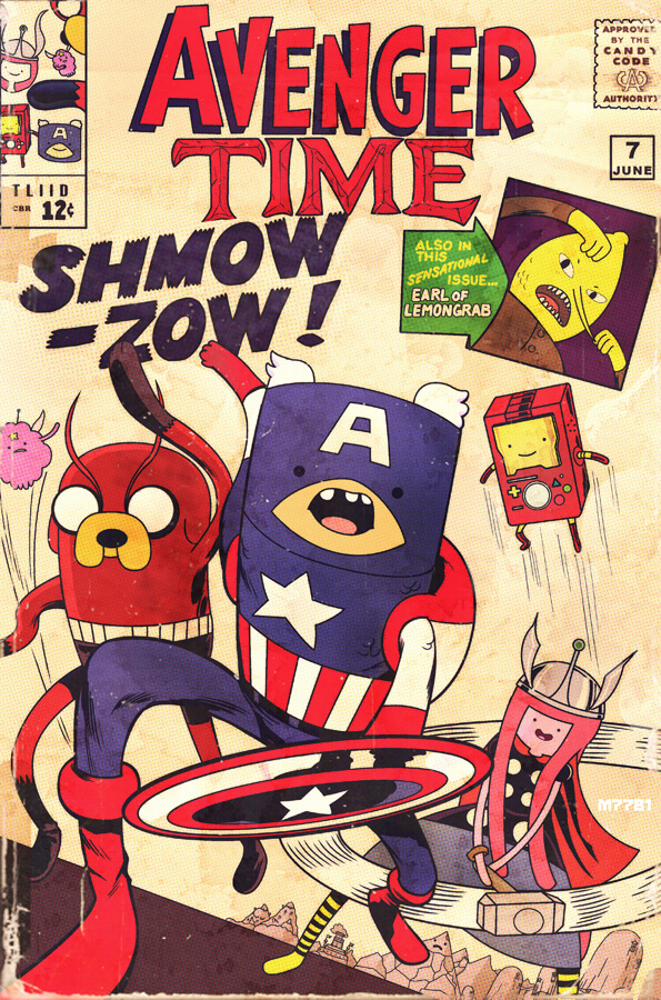Superhero mashup: Avengers and Adventure Time