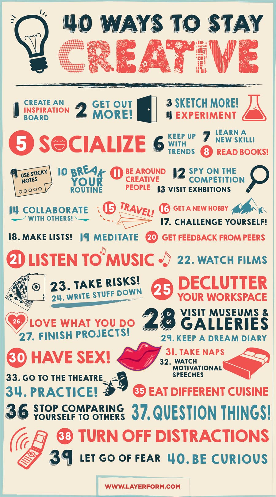 Infographic: 40 ways to stay creative
