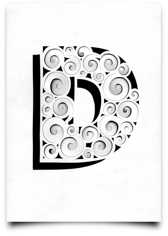 Creative alphabet made by cutting, folding and manipulating paper