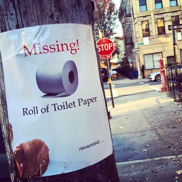 Humorously pointless missing poster: Missing toilet paper