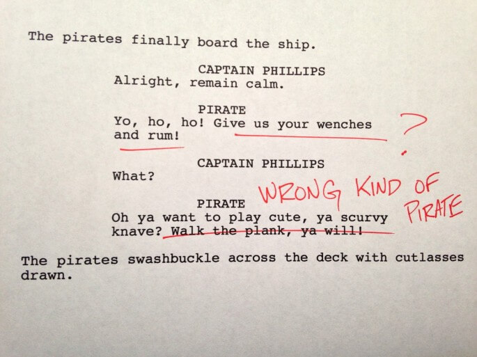 Humorous first drafts of popular movies: Captain Phillips