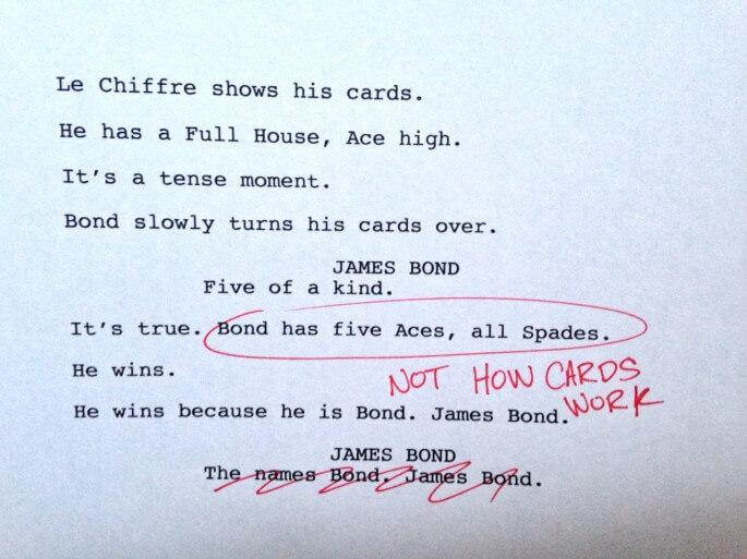 Humorous first drafts of popular movies: Casino Royale