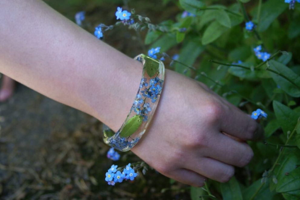 Handmade resin bracelets made with real flowers & leaves