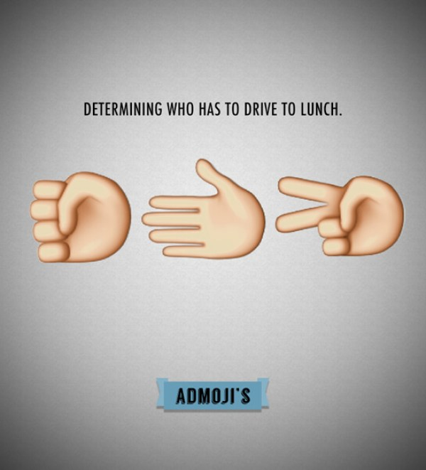 Admojis: Determining who has to drive to lunch