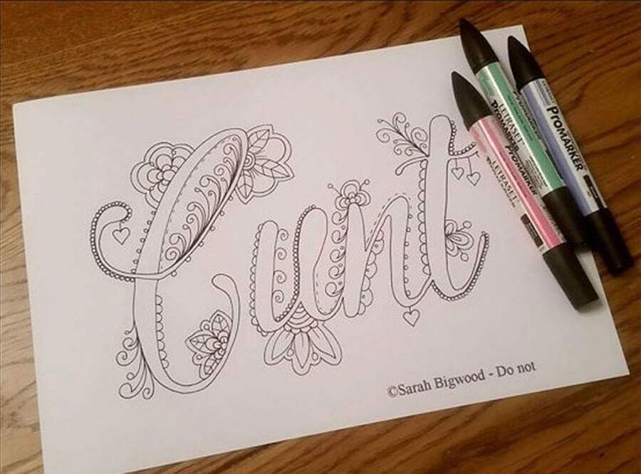 Cunt colouring book word