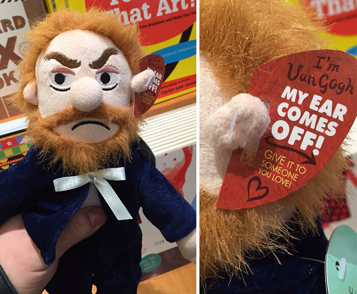 Vincent van Gogh plush toy with detachable ear