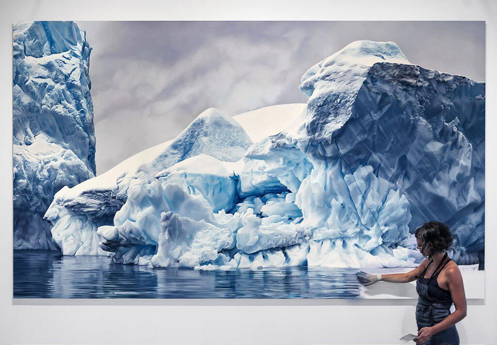 Iceberg finger painting by Zaria Forman