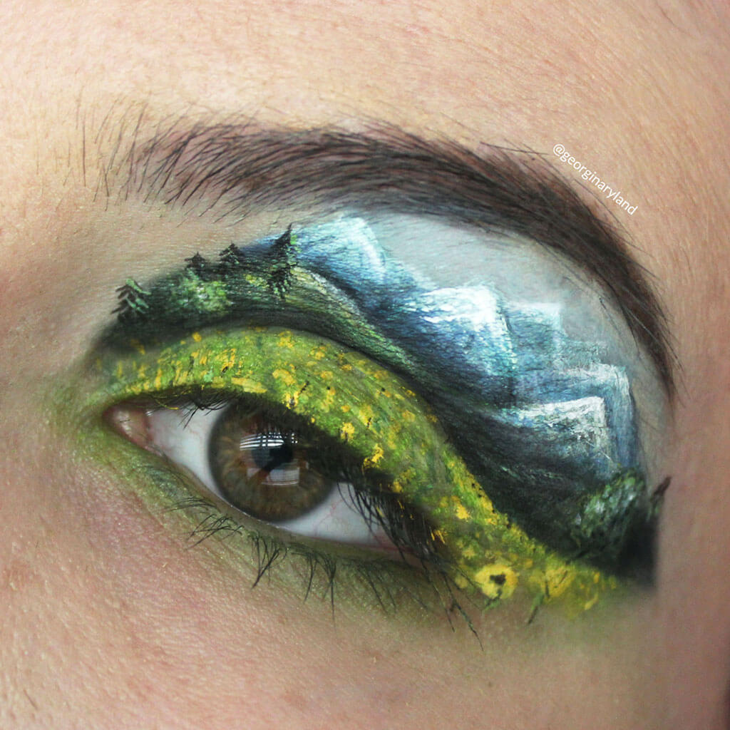 Landscape painted on an eyelid