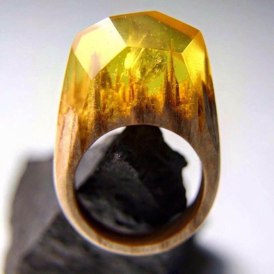 """""""Yellowstone Forest"""" miniature fantasy world within a wooden ring"""