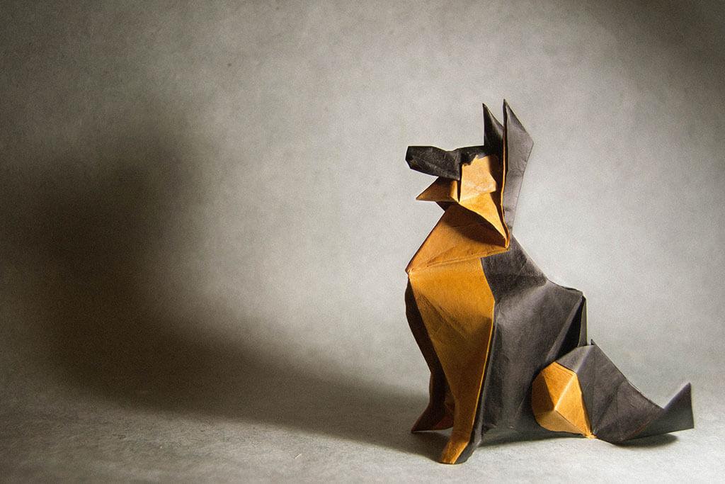 Folded paper dog