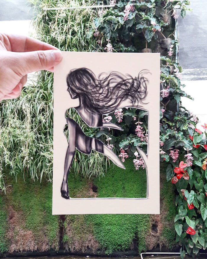 Fashion Illustrator uses his environment to complete his designs