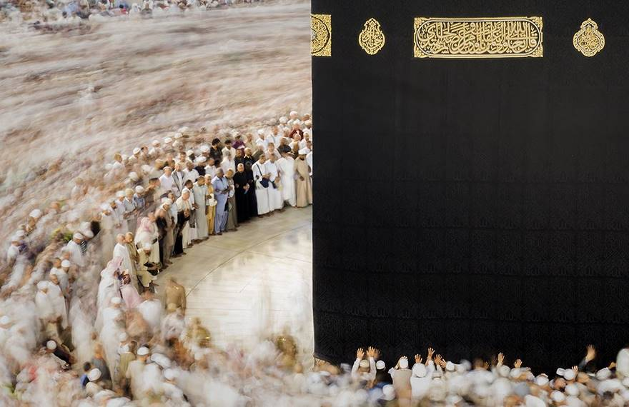 A multitude of observant Muslims hold the traditional circumambulation ritual around the Kaaba, an ancient building located in the centre of Mecca, which is the holiest place for the Islam community.