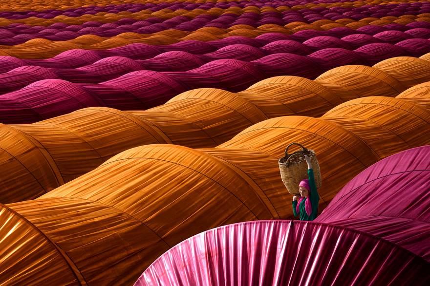A strawberry-picker walks between colourful greenhouses near Nazilli, in the Aydın province of Turkey.