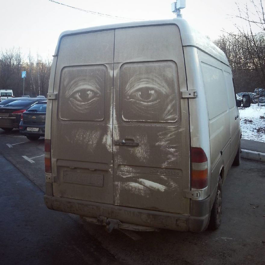 Street artist turns dirty vehicles into four-wheel masterpieces