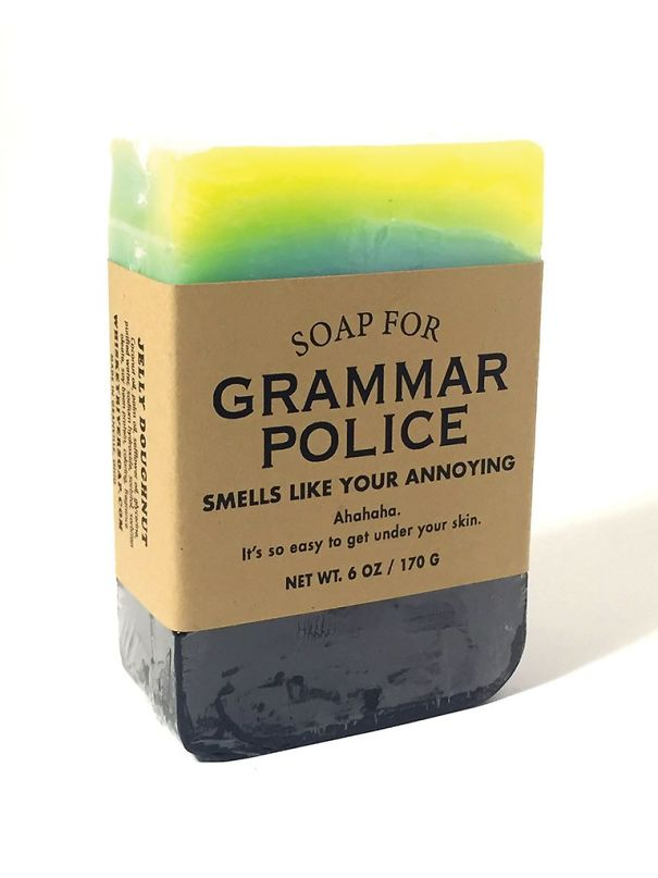 Company makes humorous soaps for grammar police