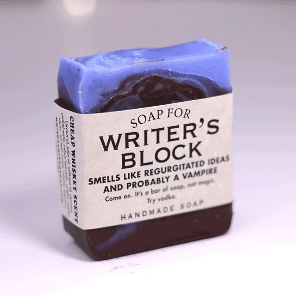 Company makes humorous soaps for writer's block