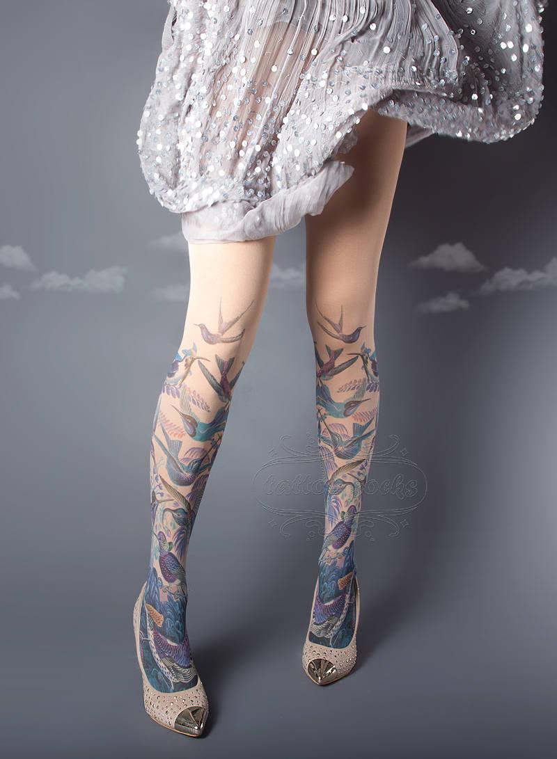 Exotic Birds Tattoo Socks
