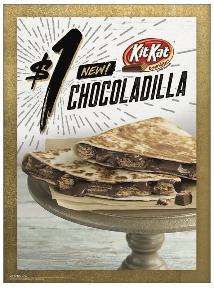 Chocodilla: Taco Bell is now testing a Kit Kat stuffed quesadilla