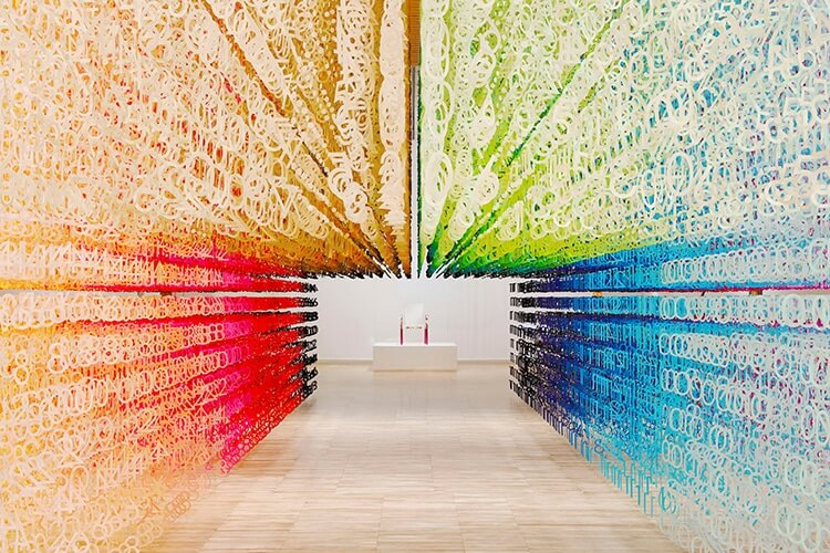 Emmanuelle Mouraux Colour of Time installation of 120,000 paper numbers