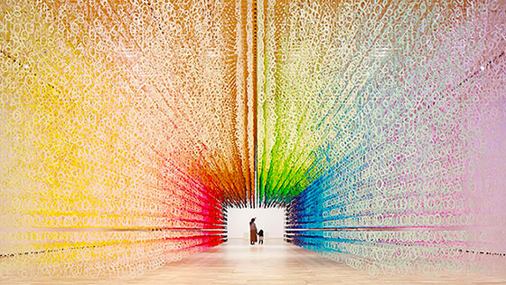 Rainbow tunnel installation contains 120,000 paper numbers