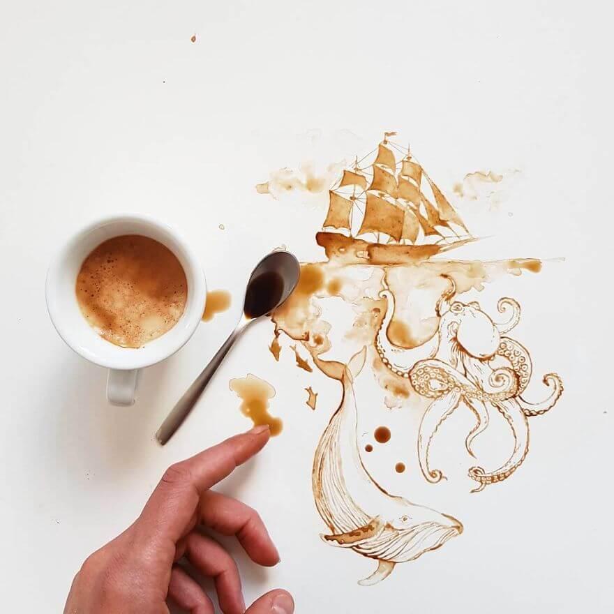 Giulia Bernardelli spilled coffee and tea turned into works of art