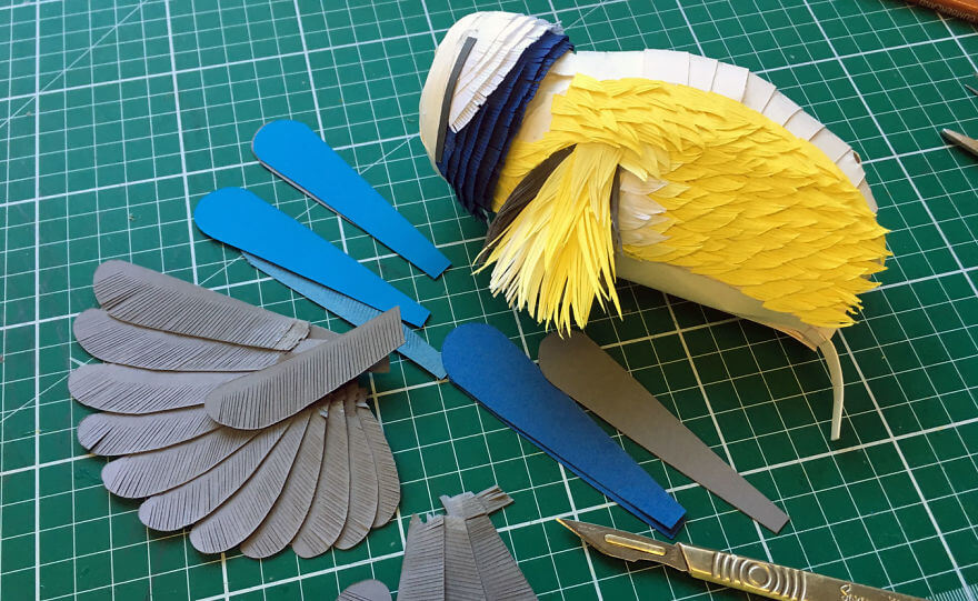 Lisa Lloyd 3D hand-cut paper sculptures of birds, bees, and other creatures