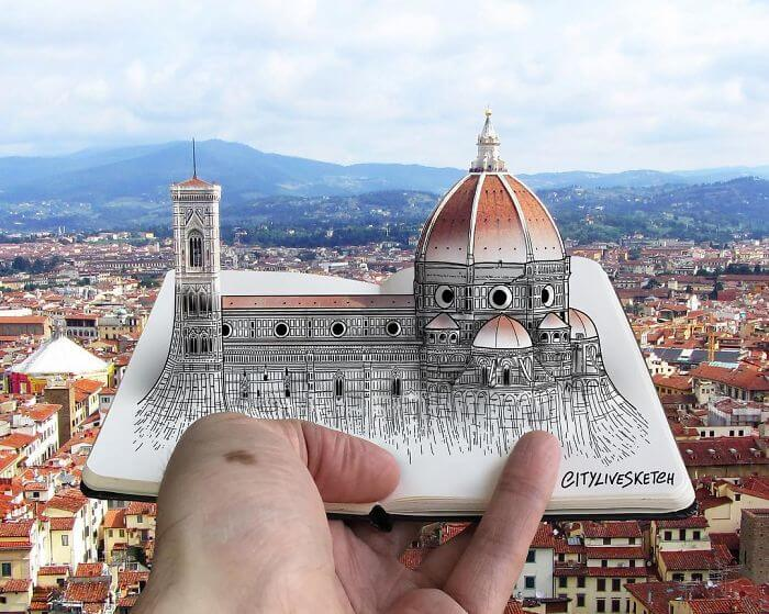 Pietro Cataudella 3D sketches of famous landmarks